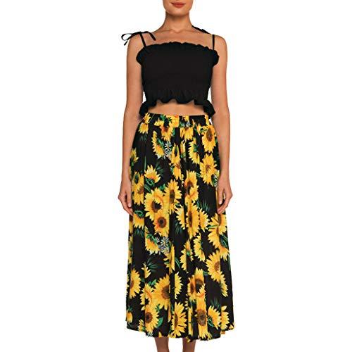 - HIRIRI Beach Skirt for Women Bohemian Printed Cotton Elasticated High Waist A-Lined Ankle-Length Large Swing Dress Black