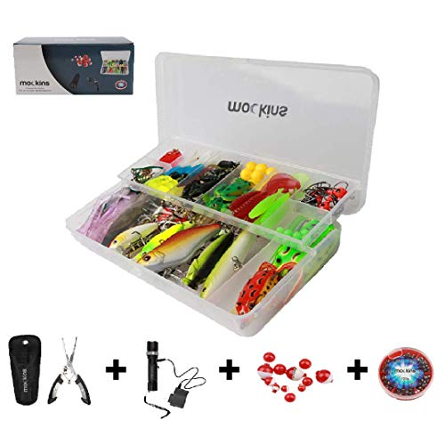 Mockins All in One Fishing Set Includes 139 Piece Fishing Lure Kit | Fishing Flashlight | 120g Fishing Sinker Kit | Fishing Pliers | 12 Pieces Fishing Floats Fishing Gear – DiZiSports Store