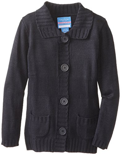 Nautica Girls' Little School Uniform Cardigan Sweater, navy/mockneck, Medium(5) ()