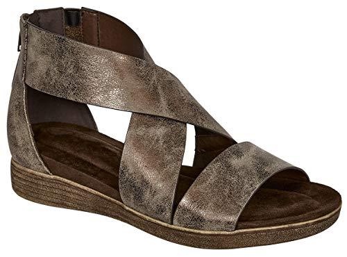 MVE Shoes Women's Stylish Strappy Cushioned Open Toe Stretchy Back Zipper Low Platform Sandal, KORI-4 Bronze 8