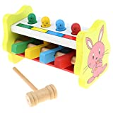 Flameer Wooden Hammering Toy Whack A Mole Pounding Bench with Mallet, Toy for Kids Baby