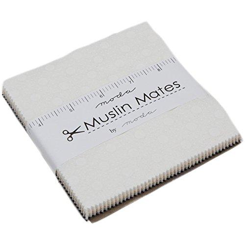 Mates Moda Muslin (Muslin Mates 2018 Charm Pack by Moda Classic; 42-5 inch Precut Fabric Quilt Squares)