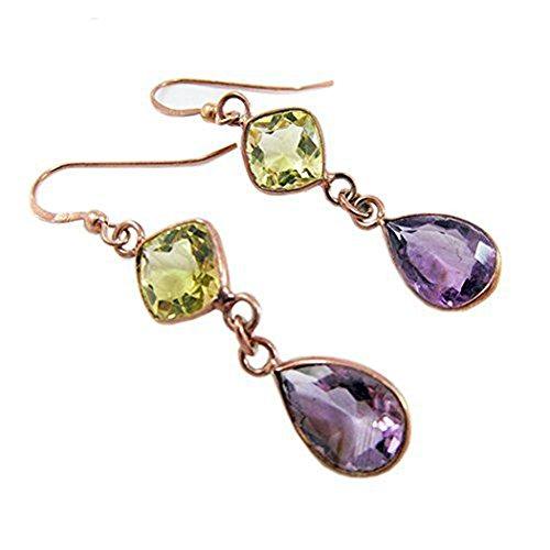 Amethyst & Lemon Topaz Gemstones Earrings (Earrings Topaz Lemon)