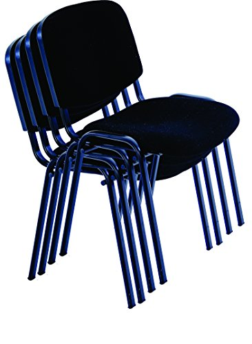 (allchairsanddesks Black Modern Stacking Church Chairs in Comfortable Cloth - Suitable for Office, Training, conferences, Churches, Community centres and Home. Sold in a (Pack of 4))