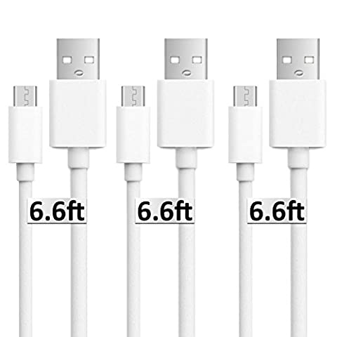 Usb to Micro Usb Cable, 3Pack 6.6FT Long Fast Charge USB 2.0 A Male to Micro B Sync Charger Cord for Android, Samsung, LG, HTC, Motorola, Nokia, MP3, Camera - (Galaxy Note 2015 Tablet)