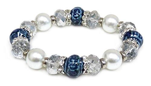 Woman Bracelet/Blue Porcelain Beads/Crystal Beads/Rhinestones Spacer/ Stretch Bracelet (Stretch Jewelry Bracelet Crystal Rhinestone)
