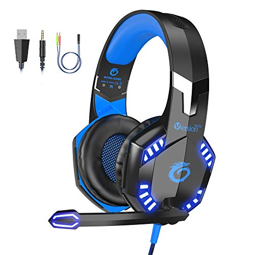 VersionTECH. G2000 [Updated] Stereo Gaming Headset for Xbox One PS4 PC,Surround Sound Over-Ear Headphones with 50mm Drive Unit,Noise Cancelling Mic, LED Lights for Laptop, Mac,Nintendo Switch -