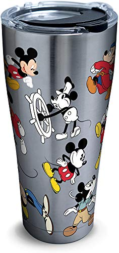 Tervis 1297812 Disney - Mickey Mouse 90th Birthday Stainless Steel Insulated Tumbler with Clear and Black Hammer Lid, 30oz, Silver