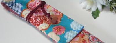 扇子入れ 水色×花柄 お箸袋にも! 扇子ケース 扇子袋 お箸袋 お箸入れ 和小物 和風小物 和雑貨 和柄
