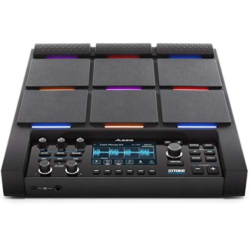 Alesis Strike MultiPad | 9-Trigger Percussion Pad with RGB Backlighting, Sampler, Looper, On-Board 2-In/2-Out Soundcard, Sample loading via USB Thumb Drives and Radiant 4.3-Inch Display