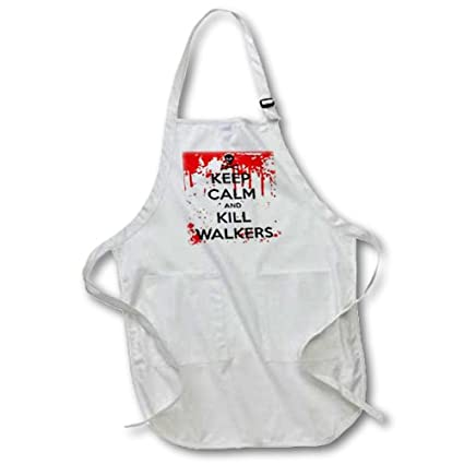 22 by 30-Inch 3dRose apr/_178690/_4 Keep Calm and Kill Walkers Full Length Apron with Pockets Black