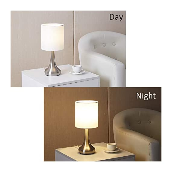 """FERWVEW Modern Small Table Lamp, Bedside Desk lamp with White Fabric Shade, Nightstand Table Lamps for Living Room Bedroom Study Room - Simple and concise style in a brush nickle lamp base with white fabric shade, the small table lamp gives off a romantic and warm atmosphere anywhere in your home decor. Wonderful gifts for the coming Thanksgiving Day to your friends, relatives or business partners. Dimension: 5.9"""" D x 13.4"""" H. Bulb: Each lamp takes AC 110V-120V, 60 Wattage Max. E26 socket, compatible with CFL, LED, Incandescent Bulbs (Bulbs Not Included). UL Listed. Comes with all mounting hardware and instruction for easy installation. - lamps, bedroom-decor, bedroom - 41yeptvafdL. SS570  -"""
