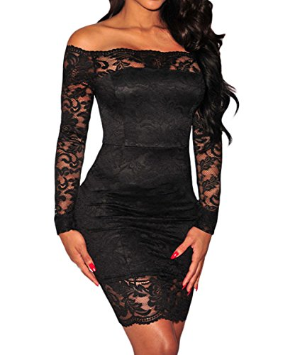 Shawhuwa Womens Sexy Floral Lace Sheer Off Shoulder Bodycon Mini Dress M Black -