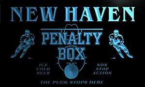 qt2239-b New Haven Ice Hockey Penalty Box Puck Bar Beer Neon Light Sign