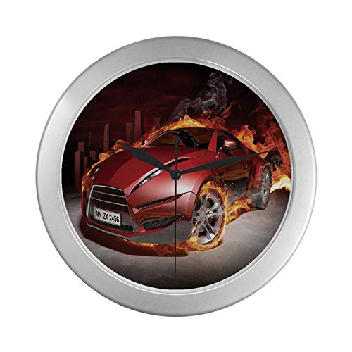 C COABALLA Cars Simple Silver Color Wall Clock,Red Sports Car Burnout Tires in Flames Blazing Engine Hot Fire Smoke Automobile Decorative for Home Office,9.65