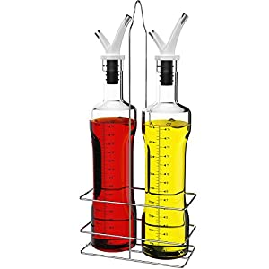 Vremi 17 oz Olive Oil and Vinegar Dispenser Set - Clear Glass Cruet Bottles for Cooking with No Drip Double Pourer Spout Stoppers and Stainless Steel Holder Stand - Kitchen Dispensing Cruets - White