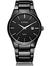 All Black Steel Band Watches for Men Classic Stainless...