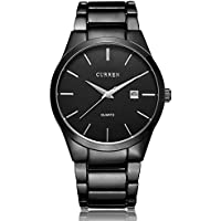 Voeons All Black Steel Band Watches for Men Classic Stainless Steel Watch Casual Business Quartz Analog Wrist Watch with Calendar