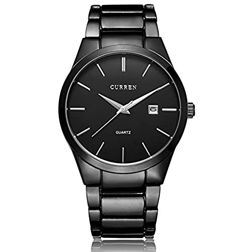 voeons menu0027s watches classic black steel band quartz analog wrist watch for men