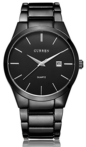 Voeons Men's Watches Classic Black Steel Band Quartz Analog Wrist Watch for Men Watches