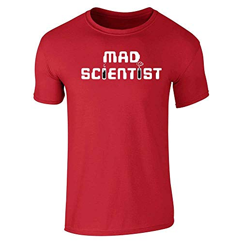 Mad Scientist Funny Retro Geeky Nerdy Costume Red L Short Sleeve T-Shirt (Scientists Best Apply Critical Thinking In Their Work Through)