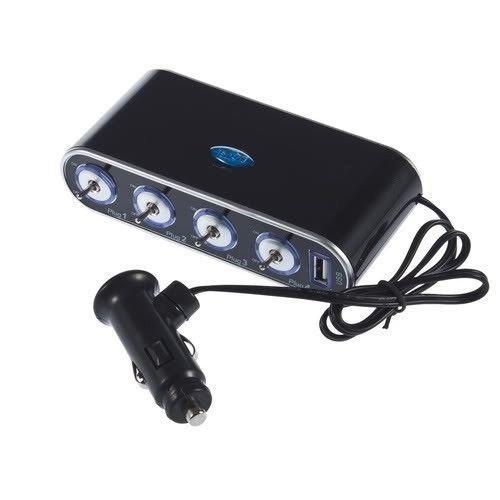 Hooshion 1 to 4 Car 4 Way Cigarette Lighter Socket DC Power Adapter Splitter + 1 USB Port