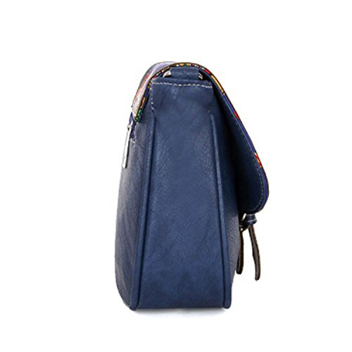 Women's Handmade Vintage Genuine Clearance Week Blue Black Purse Cross for Shoulder Leather Monday Deals Style Women Christmas Cyber Bag Body Saddle Sale Vintage Gifts Bag Handicrafts qwTzE