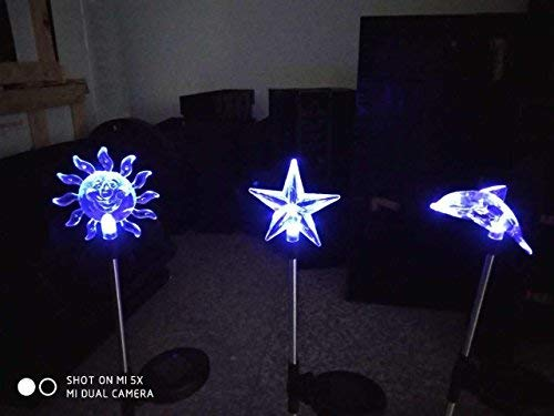 (BOFU Solar Garden Lights Outdoor - 3 Pack Solar Stake Lights Multi-Color Changing LED Garden Lights, Premium Sun Star Dolphin Decorative Lights for Path, Yard, Lawn, Patio.)