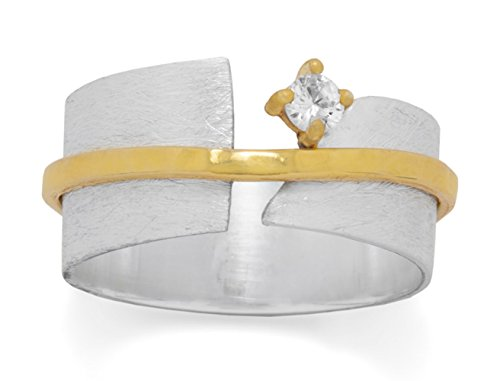 Hammered Satin Finish Sterling Silver Wedding Band Ring, 14K Gold Plated Accent Band, 3mm CZ, Sizes 5-9, 8.6mm