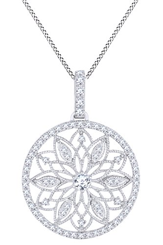 (Round White Natural Diamond Vintage Style Pendant Necklace 14k Solid White Gold (0.48 Cttw))