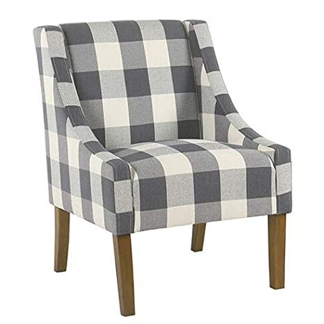 Marvelous Amazon Com Wausa Swoop Blue Plaid Accent Chair Model Chrs Gmtry Best Dining Table And Chair Ideas Images Gmtryco