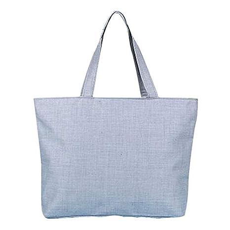 Scrox 1pcs Bolsas de Tela Cremallera Tote Bag Original Color sólido Bandolera Mujer Bolsa Reutilizable Compra Bolsa de Almacenamiento (Gris)