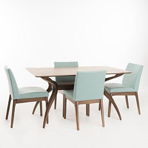 Katherine Mint Fabric/Natural Walnut Finish Curved Leg Rectangular 5 Piece Mid Century Modern Dining Set - Natural 5 Piece Dining Room