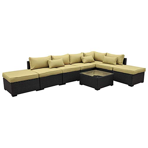 VALITA Patio PE Wicker Furniture Set 8 Pieces Outdoor Black Rattan Sectional Conversation Sofa Chair with Olive Green Cushions