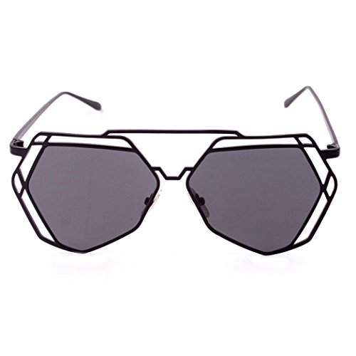 DMZing Twin-Beams Geometry Design Women Metal Frame Mirror Sunglasses Cat Eye Glasses - Ray Fake Bans Cheap