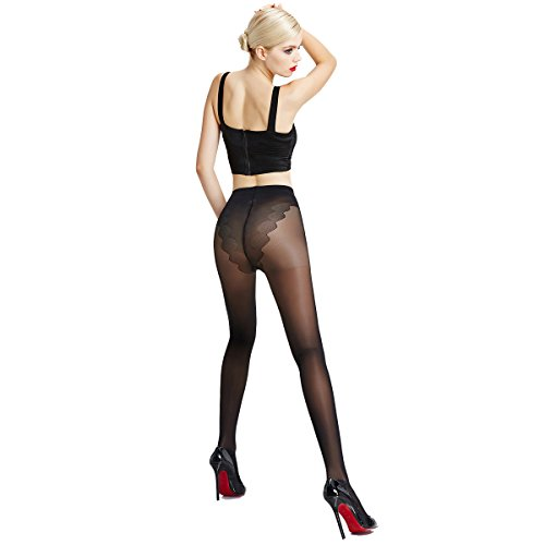 ZubeJ 70D Women Compression Pantyhose, Ultra-thin Control-Top Sheer Tights Women, Pressure Medical Support Stockings for Women (Black, ()