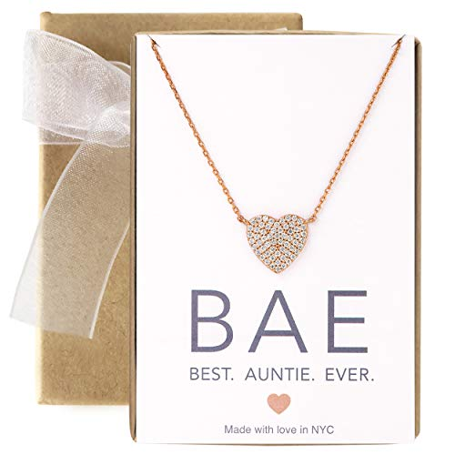 A+O Gift for Aunt - CZ Heart Pendant Necklace in 14K Rose Gold