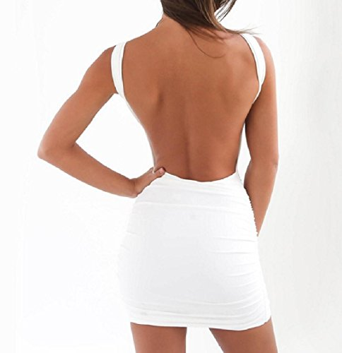 Slip Bandage Backless White Women's Coolred Solid Package Dress Draped Hip IOwUx5q