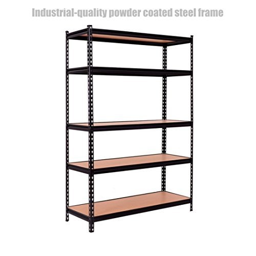 5 Tier Heavy Duty Shelf School Office Home Garage Solid Steel Metal Storage Rack Space-Saving Design Adjustable Height Shelves - 48''L ×18''W ×72''H Black #1307a by Koonlert@shop