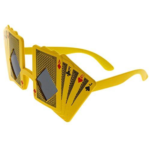 grinderPUNCH Poker Cards Sunglasses World Face Royal Flush Ace Costume - Costume Face Poker