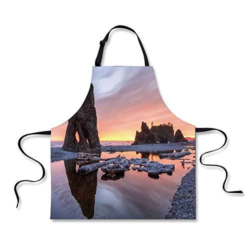 iPrint Cooking Apron,Driftwood Decor,Sunset Theme Sea Stacks