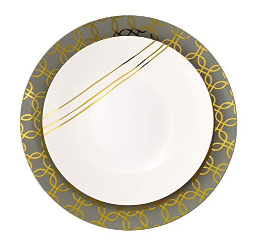 Trendables 40 - Pack Combo Premium Disposable Plastic Plates, Food Grade Elegant Plastic Dinner Plates - Design Includes: 20 x 10.25