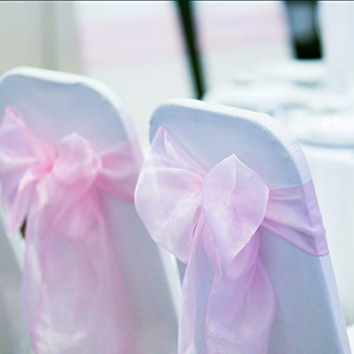 BIT.FLY 100 Pcs Organza Chair Sashes for Wedding Banquet Party Decoration Chair Bows Ties Chair Cover Bands Event Supplies - Light Pink