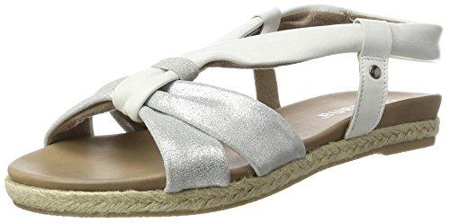 Jana 28102, Sandalias con Cuña para Mujer Blanco (White 100)