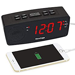 Digital Alarm Clock, USB Clock Radio, Alarm Clock Radio with FM Radio, Dual USB Charging Ports, Large 1.2 Display, Snooze, Sleep Timer and Dimmer for bedrooms (Black)