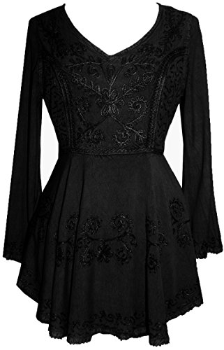 Agan Traders 02 B Medieval Embroidered Flare Tunic Top Blouse (2X, Black)