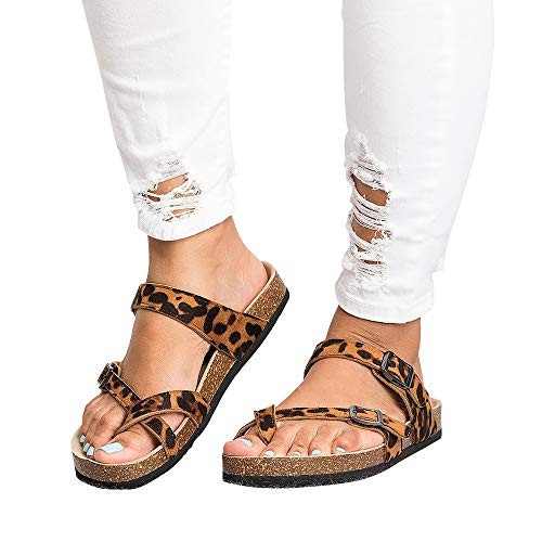 Leopard Thong Sandal - Chenghe Women's Fashion Flat Ankle Buckle Sandals Gladiator Thong Flip Flop Mayari Sandals Leopard US 5.5