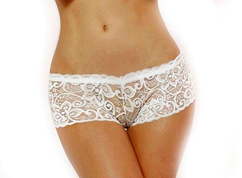 Lacy Line Sexy Strecth Lace Boyshort Panties (Medium,White)
