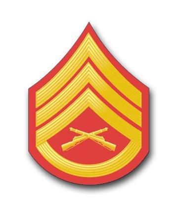 Military Vet Shop USMC US Marine Corps E-6 Staff Sergeant RED/Gold Chevron Window Car Bumper Sticker Vinyl Decal 3.8