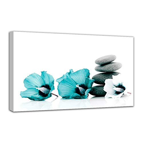 Big Panel Teal Grey and White Lily Floral Canvas Large Pictures for Wall Flowers Pictures Turquoise Wall Art for -